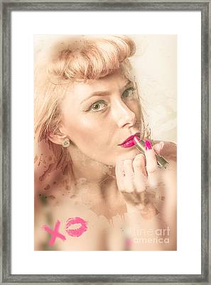 Retro Makeup Pin-up Framed Print by Jorgo Photography - Wall Art Gallery