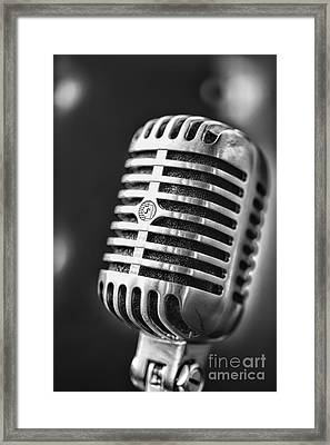 Retro Microphone In Black And White Framed Print by Paul Ward