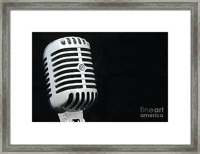 Retro Microphone On Black Framed Print