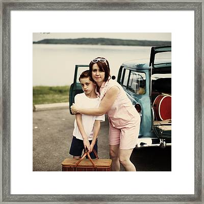 Retro Mom Hugging Boy Holding Picnic Framed Print