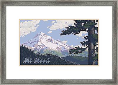 Retro Mount Hood Framed Print by Mitch Frey