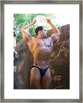 Retro Muscle Male Muscle Art Framed Print