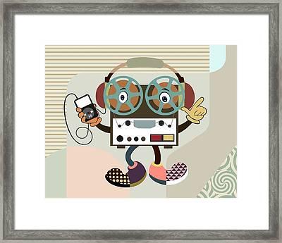 Retro Music Playlist Iv Framed Print by Lanre Studio