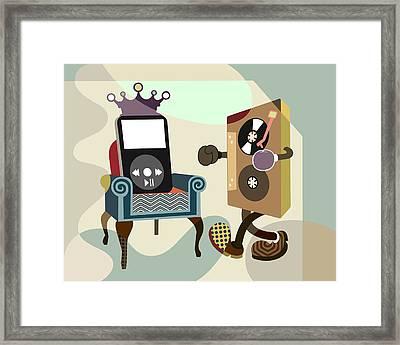 Retro Music Playlist Vi Framed Print by Lanre Studio