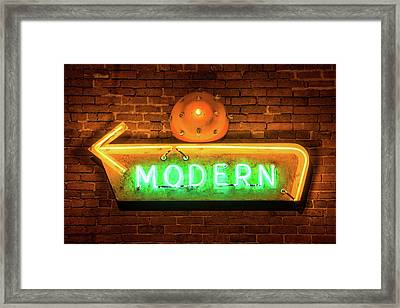 Vintage Neon Arrow Sign On Brick Wall  Framed Print by Gregory Ballos