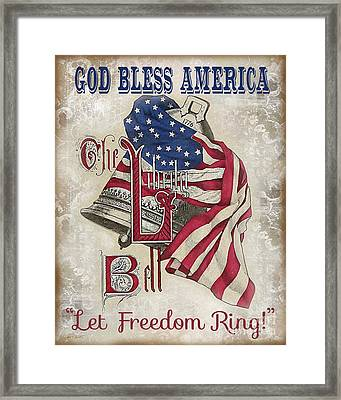 Framed Print featuring the digital art Retro Patriotic-a by Jean Plout