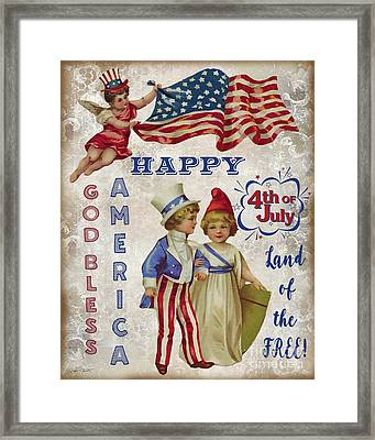 Framed Print featuring the digital art Retro Patriotic-c by Jean Plout