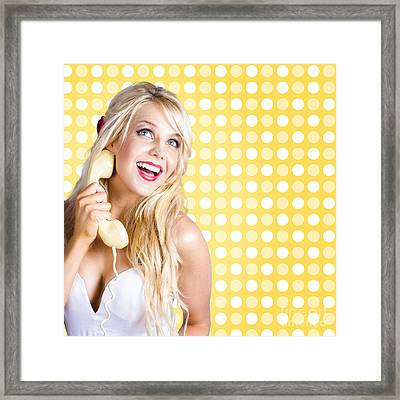 Retro Phone Beauty With Glamour Hair And Makeup Framed Print by Jorgo Photography - Wall Art Gallery
