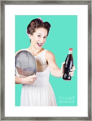 Retro Pin-up Girl Giving Bottle Of Soft Drink Framed Print by Jorgo Photography - Wall Art Gallery