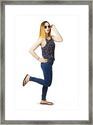 Retro Pin-up Model Kicking Up A Full Length Pose Framed Print by Jorgo Photography - Wall Art Gallery