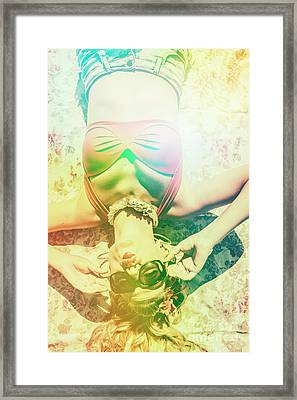 Retro Pin-up Pool Party Framed Print