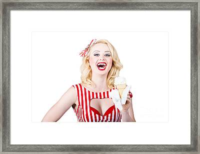 Retro Pin-up Poster Girl With Ice Cream Framed Print by Jorgo Photography - Wall Art Gallery