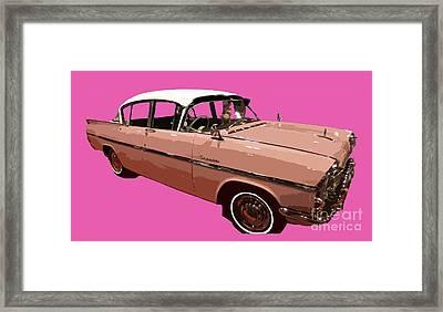 Retro Pink Car Art Framed Print