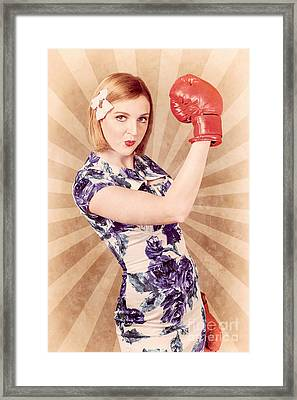 Retro Pinup Boxing Girl Fist Pumping Glove Hand  Framed Print by Jorgo Photography - Wall Art Gallery