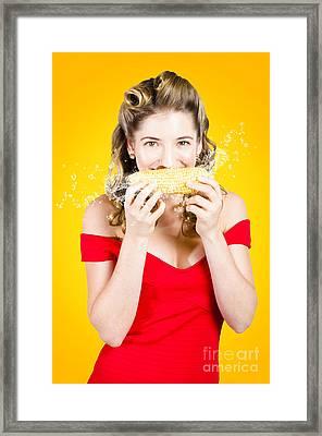 Retro Pinup Girl Eating Gmo Free Corn Cob Framed Print