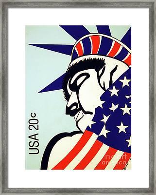 Retro Postal Stamp Framed Print