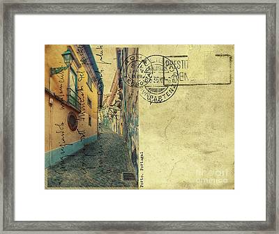 Framed Print featuring the digital art retro postcard of Porto, Portugal  by Ariadna De Raadt