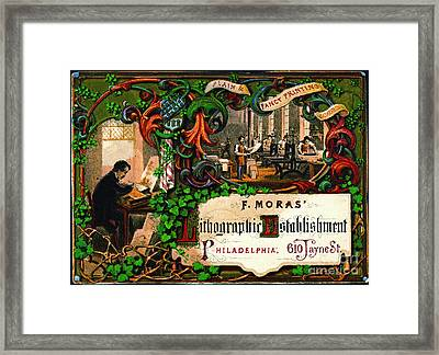 Framed Print featuring the photograph Retro Printing Ad 1867 by Padre Art