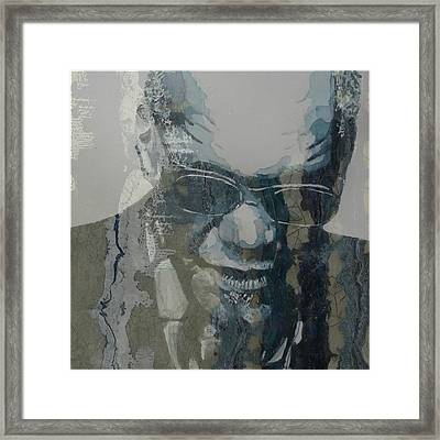 Framed Print featuring the mixed media Retro / Ray Charles  by Paul Lovering