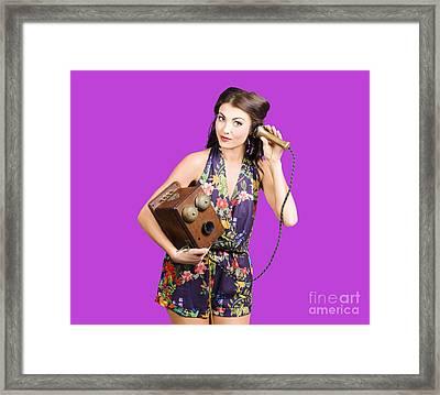 Retro Receptionist On Vintage Telephone. Call Us Framed Print