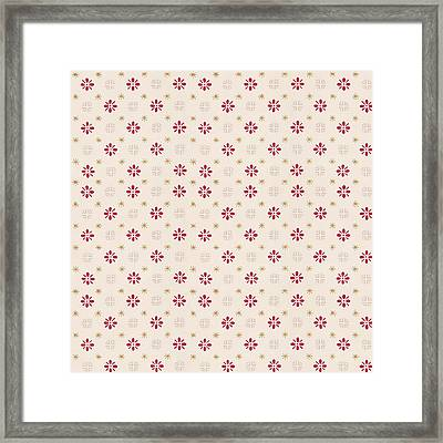 Framed Print featuring the digital art Retro Red Flower Gold Star Vintage Wallpaper by Tracie Kaska