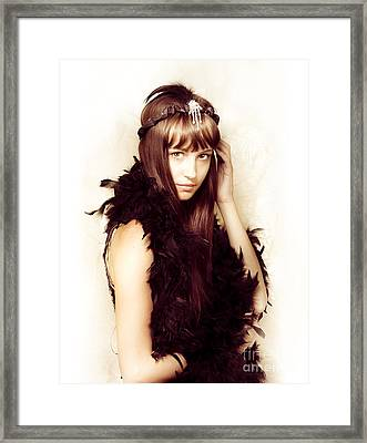 Retro Showgirl In Feather Boa Framed Print by Jorgo Photography - Wall Art Gallery