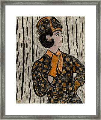 Retro Sixties Model In Black And Orange Framed Print