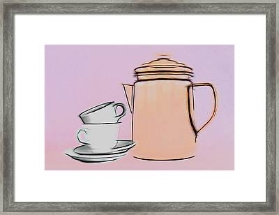 Retro Style Coffee Illustration Framed Print by Tom Mc Nemar