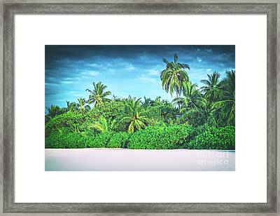 Retro Stylized Image Of Tropical Island With Coconut Palm Trees. Framed Print