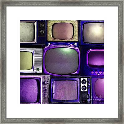 Retro Television Marathon 20150928square V2 M128 Framed Print by Wingsdomain Art and Photography