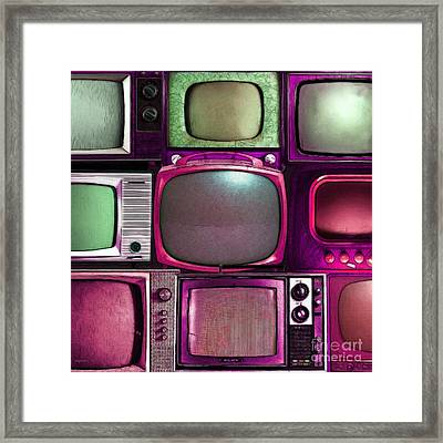 Retro Television Marathon 20150928square V2 M68 Framed Print by Wingsdomain Art and Photography