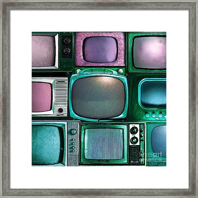 Retro Television Marathon 20150928square V2 P138 Framed Print by Wingsdomain Art and Photography