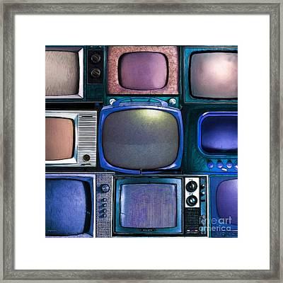 Retro Television Marathon 20150928square V2 P180 Framed Print by Wingsdomain Art and Photography