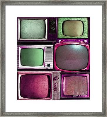Retro Television Marathon 20150928vertical V2 M68 Framed Print by Wingsdomain Art and Photography