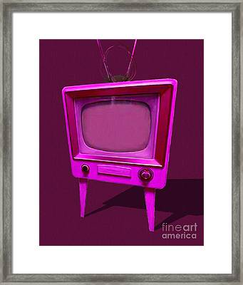 Retro Television With Rabbit Ears 20150905 Ym108 Framed Print by Wingsdomain Art and Photography