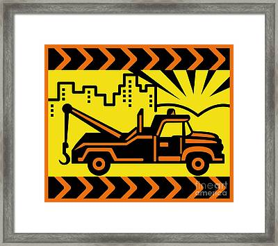 Retro Tow Truck Framed Print