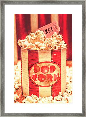 Retro Tub Of Butter Popcorn And Ticket Stub Framed Print by Jorgo Photography - Wall Art Gallery