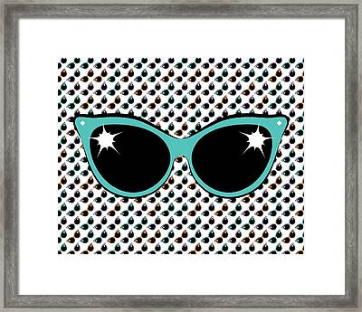 Retro Turquoise Cat Sunglasses Framed Print