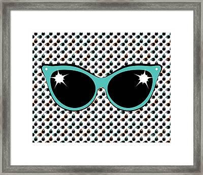 Retro Turquoise Cat Sunglasses Framed Print