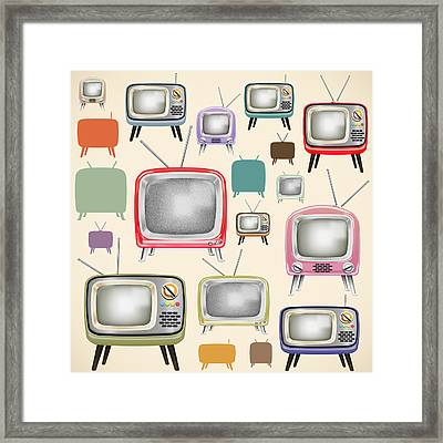 retro TV pattern  Framed Print