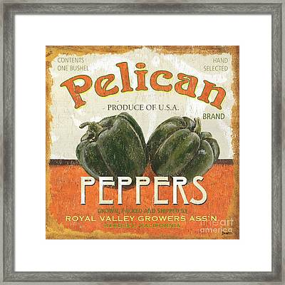 Retro Veggie Labels 3 Framed Print by Debbie DeWitt