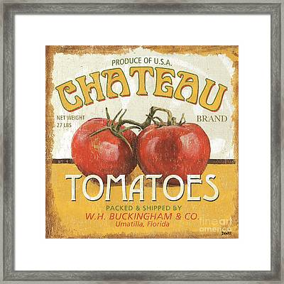 Retro Veggie Labels 4 Framed Print by Debbie DeWitt