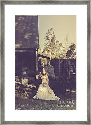 Retro Wedding Couple At Australian Farm Cottage Framed Print
