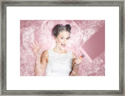Retro Window Cleaning Girl Looking At Clean Glass Framed Print by Jorgo Photography - Wall Art Gallery