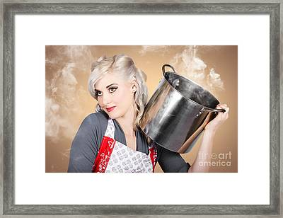 Retro Women And Homemakers. Pin Up Cooking Framed Print by Jorgo Photography - Wall Art Gallery