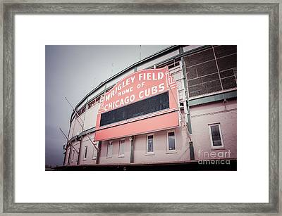 Retro Wrigley Field Sign Framed Print by Paul Velgos