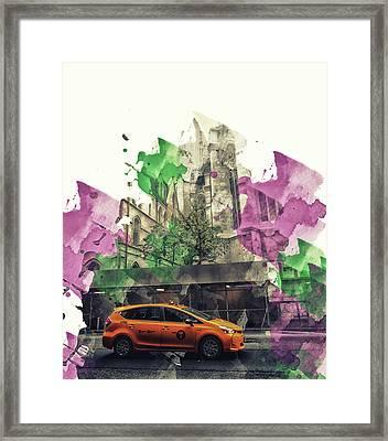 Retro Yellow Cab Print Framed Print by Martin Newman