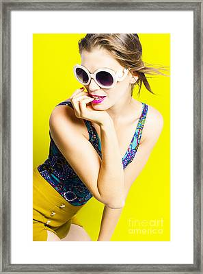 Retro Yellow Fashion Portrait  Framed Print by Jorgo Photography - Wall Art Gallery