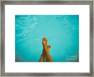 Retro Young Girl Relaxing Her Feet At Swimming Pool Framed Print