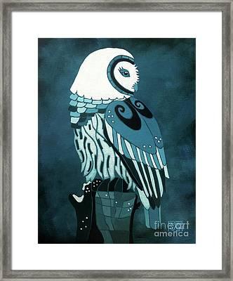 Retrospect In The Moonlight Owl Framed Print